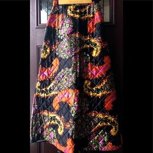VTG 60s 70s Maxi Skirt Satin ALine Multicolor 9/10